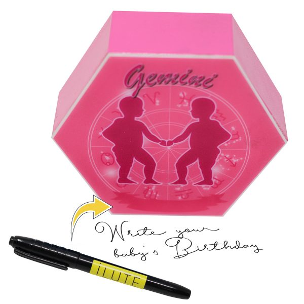 Led lighting Zodiac Sign Gemini - color Pink - Girl